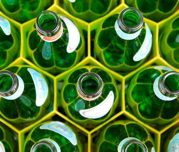 Green recycling bottles